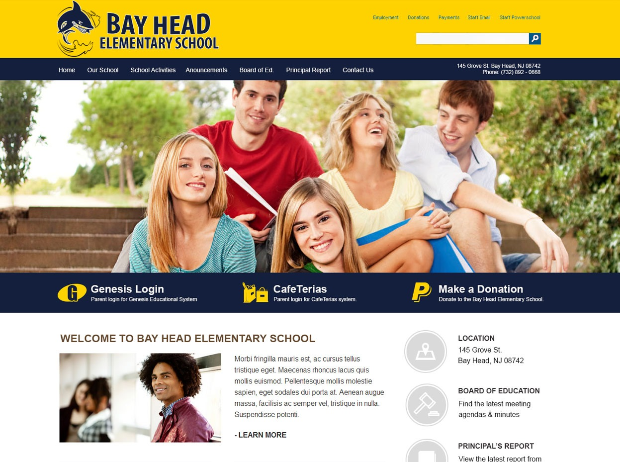Bay Head Elementary School - School Web Design